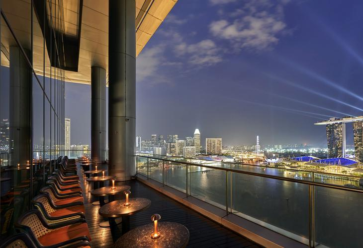 View from the Vue bar and grill restaurant at OUE Bayfront. Photo: Vue