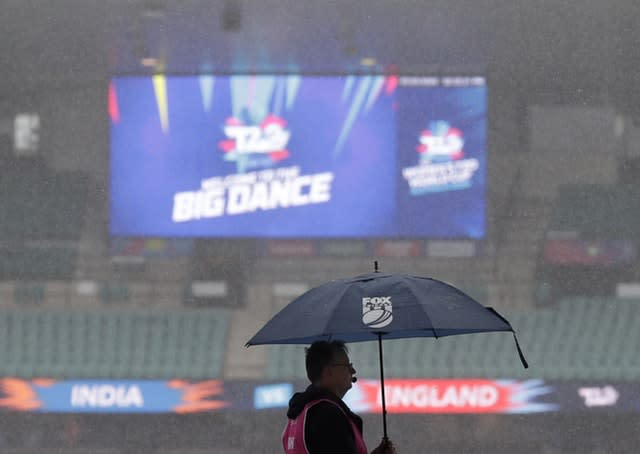 Rain falls on the Sydney Cricket Ground before England's game was washed out on Thursday (Rick Rycroft/AP)