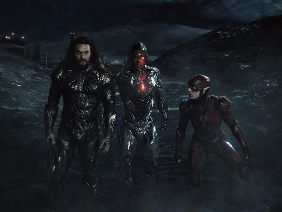 Aquaman (Jason Momoa), Cyborg (Ray Fisher) and Flash (Ezra Miller) in Zack Snyder's Justice League (Warner Bros)