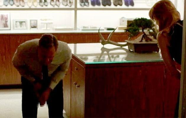 In the scene, Nicole hits Alexander in the crotch with a tennis racket. Source: HBO