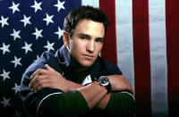 "FILE - US Olympic freestyle moguls skier Jeremy Bloom poses for a portrait on Oct. 11, 2005, in Colorado Springs, Colo. Olympians including Michael Phelps, Apolo Ohno and Bloom are opening up about their mental health struggles in a new sobering documentary about suicide and depression among the world's greatest athletes. Many of the athletes are sharing their pain for the first time in HBO's ""The Weight of Gold,"" which aims to expose the problem, incite change among Olympics leadership and help others experiencing similar issues feel less alone. (AP Photo/Ed Andrieski, File)"
