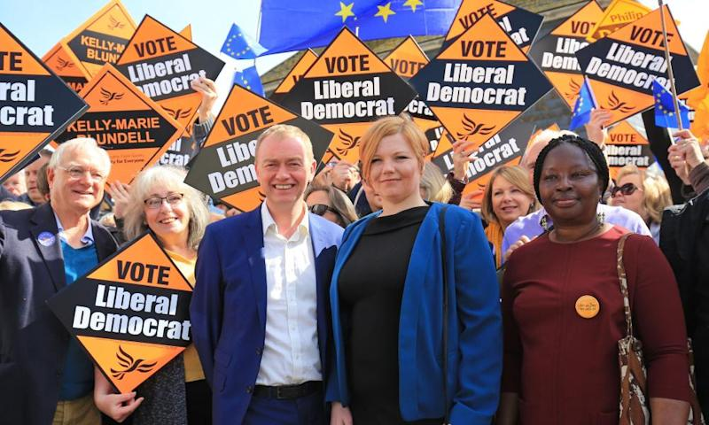 Liberal Democrat campaigning in Lewes in East Sussex.
