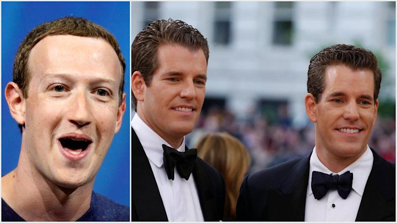 Mark Zuckerberg has reportedly turned to his former archnemeses Cameron and Tyler Winklevoss for advice on Facebook's new GlobalCoin. | Source: (i) REUTERS/Charles Platiau (ii) REUTERS/Lucas Jackson/File Photo; Edited by CCN