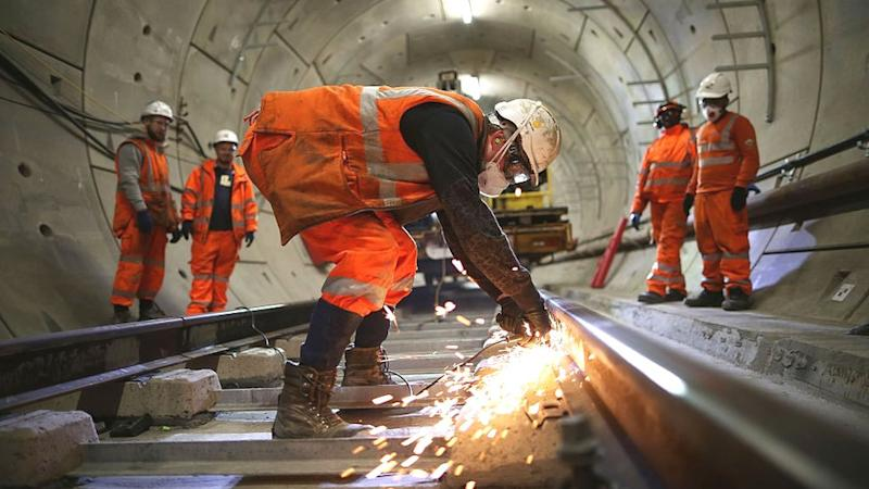 Construction workers continue to build the Crossrail underground line in the Stepney tunnel on November 16, 2016 in London