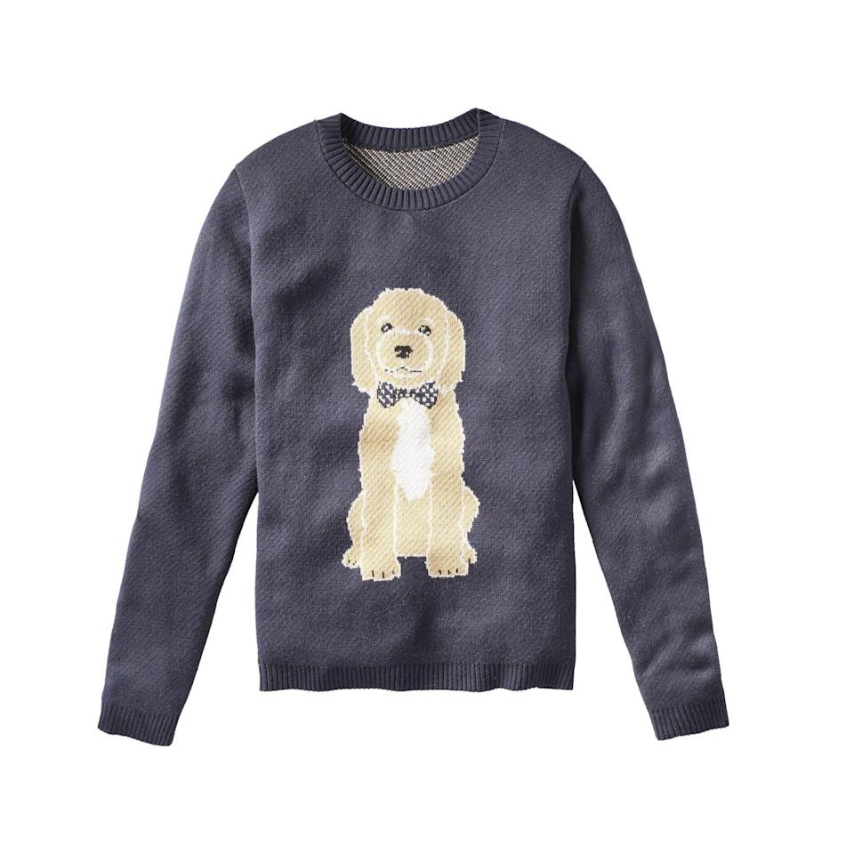 """<p><strong>Sweater Hound</strong></p><p>sweaterhound.com</p><p><strong>$128.00</strong></p><p><a href=""""https://www.sweaterhound.com/collections/sweaters/products/dog-with-bow-tie-sweater"""" rel=""""nofollow noopener"""" target=""""_blank"""" data-ylk=""""slk:SHOP IT"""" class=""""link rapid-noclick-resp"""">SHOP IT</a></p><p>This isn't just any sweater with a dog's face on it. Thanks to new brand Sweater Hound, this is a custom-knitted, unisex sweater with <em>your </em>dog's face on it—and it makes a great custom Christmas present for the greatest dog mom (or dad) you know.</p>"""