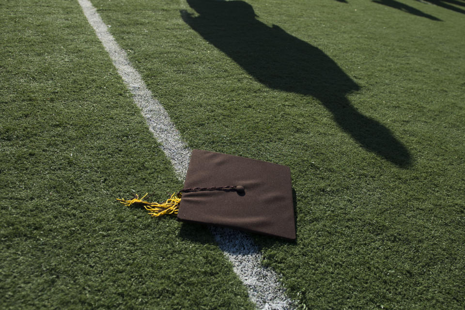 A graduates' cap after commencement ceremonies at Fred Kelly Stadium in California. (Photo by Kevin Sullivan/Digital First Media/Orange County Register via Getty Images)