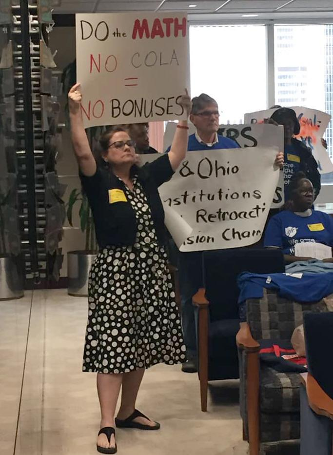 IMAGE: Retirees protest at a pension meeting (Ohio Retired Teachers Association)