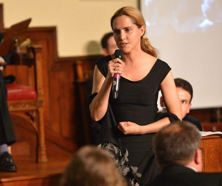 Louise Mensch takes part in a debate at the Cambridge Union in 2015. (Photo by Chris Williamson/Getty Images)