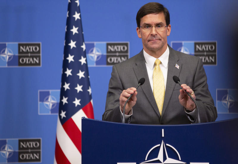 U.S. Secretary for Defense Mark Esper speaks during a media conference after a meeting of NATO defense ministers at NATO headquarters in Brussels, Friday, Oct. 25, 2019. NATO defense ministers on Friday discussed efforts to deter Russia in eastern Europe and the future of the mission training security forces in Afghanistan. (AP Photo/Virginia Mayo)