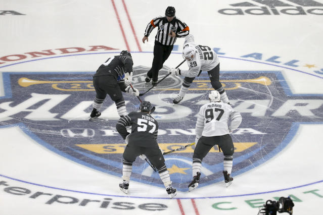 The puck is dropped for the start of the NHL All-Star hockey semifinal game between the Central Division and the Pacific Division Saturday, Jan. 25, 2020, in St. Louis. (AP Photo/Scott Kane)