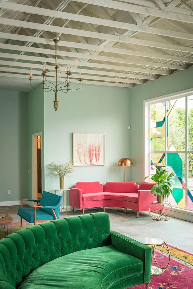 "<p>Why choose one when you could have both? As colorful as this room is, it still feels totally serene.</p><p>See more at <a rel=""nofollow"" href=""https://stylebyemilyhenderson.com/blog/portfolio-project/the-fig-house"">Emily Henderson</a>.</p><p><a rel=""nofollow"" href=""https://www.homedepot.com/p/Glidden-Premium-8-oz-HDGB10-Opal-Silk-Green-Eggshell-Interior-Paint-Sample-HDGB10-08E/303661905"">BUY NOW</a> <strong><em>Blue-Green Paint, $4, homedepot.com</em></strong></p>"