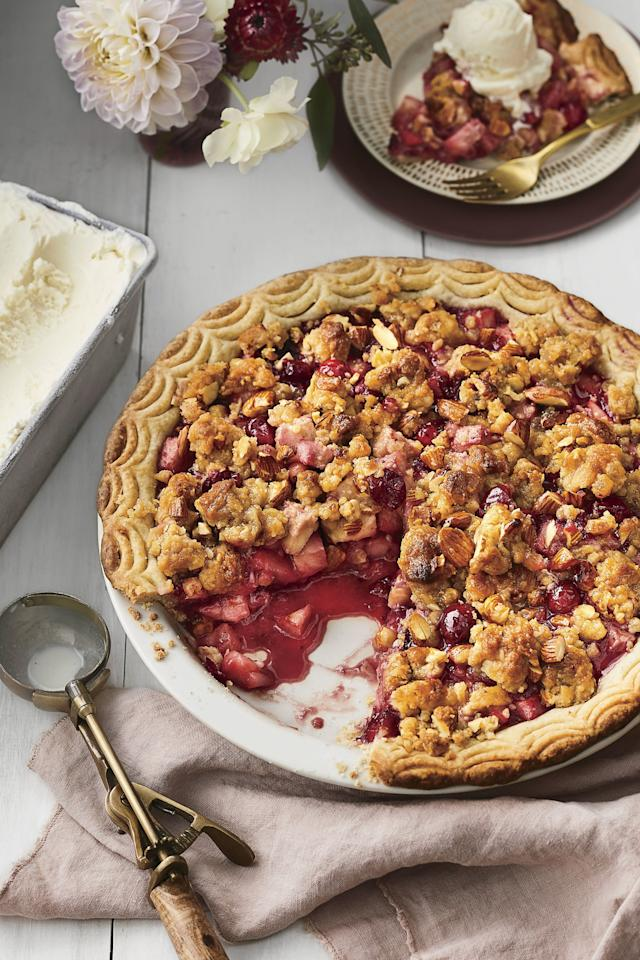 "<p><strong>Recipe: </strong><a href=""https://www.southernliving.com/recipes/pear-cranberry-pie-ginger-almond-streusel"">Pear-Cranberry Pie with Ginger-Almond Streusel</a></p> <p>Sweet fruit filling, vanilla bean piecrust, and textured ginger-almond streusel make this cranberry dessert a true showstopper.</p>"