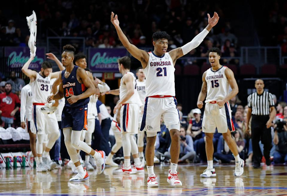 Gonzaga's Rui Hachimura (21) celebrates after a play against Pepperdine during the first half of an NCAA semifinal college basketball game at the West Coast Conference tournament, Monday, March 11, 2019, in Las Vegas. (AP Photo/John Locher)