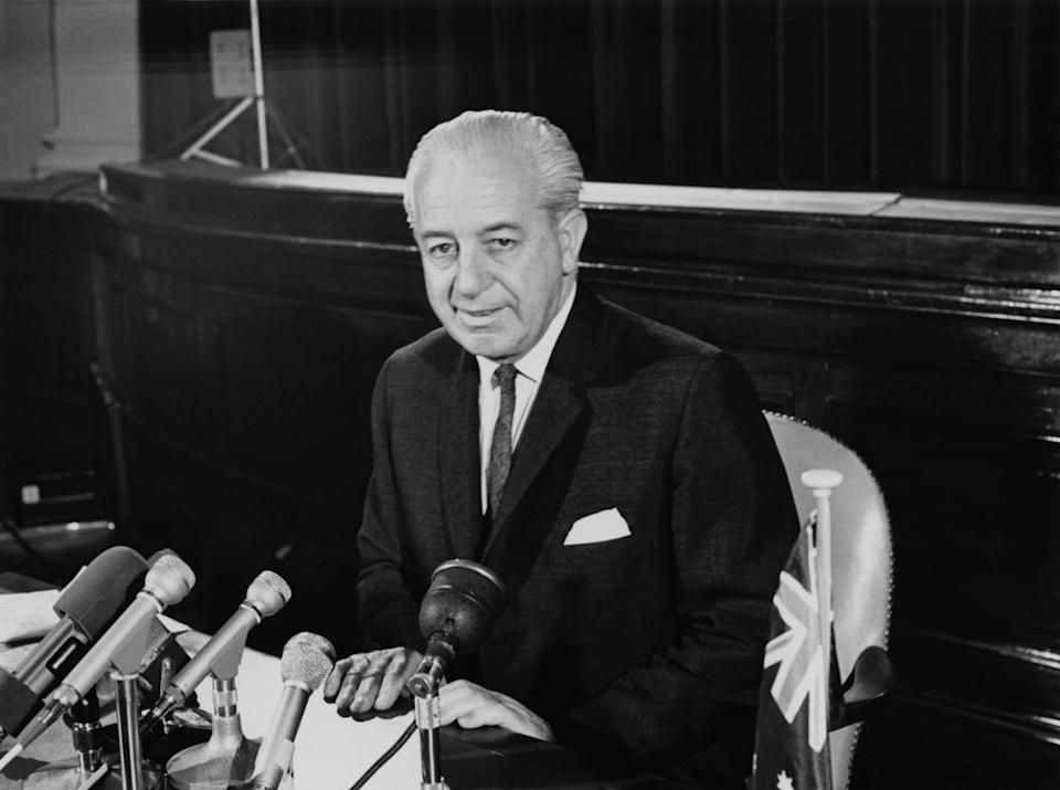 Australian Prime Minister Harold Holt during an official visit to London.