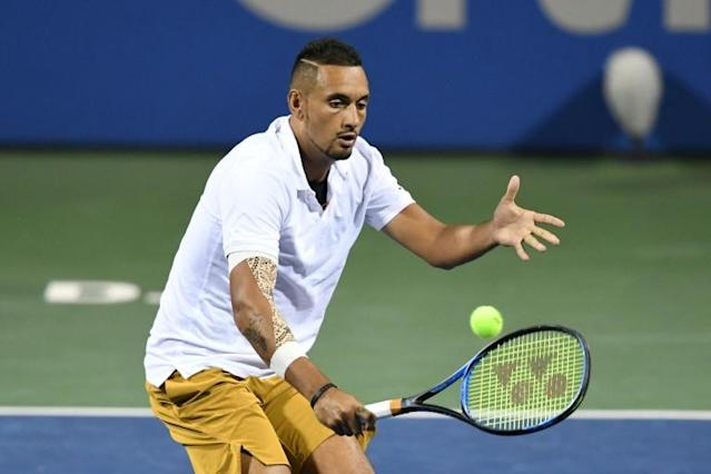 Australia's Nick Kyrgios is through to the ATP final in Washington after a three-set victory over Stefanos Tsitsipas (AFP Photo/Mitchell Layton)