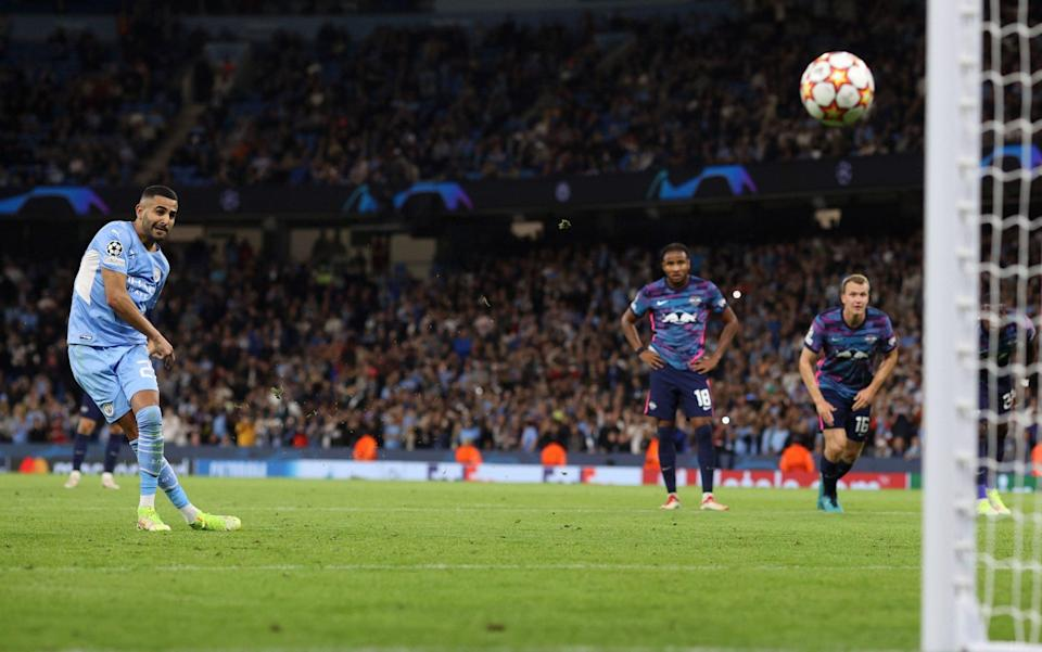 Riyad Mahrez of Man City scores their 3rd goal from the penalty spot during the UEFA Champions League group A match between Manchester City and RB Leipzig at Etihad Stadium on September 15, 2021 in Manchester, United Kingdom - Charlotte Wilson/Offside/Offside via Getty Images