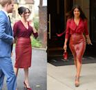 <p>With Priyanka Chopra and the Duchess of Sussex being such good friends, it's hard to tell who was inspired by who with these burgundy monochrome looks. The Baywatch actress coordinated her leather pencil skirt with a matching blouse in New York City in 2018, while Meghan arrived at a Queen's Commonwealth Trust event in 2019 in a similar look. </p>