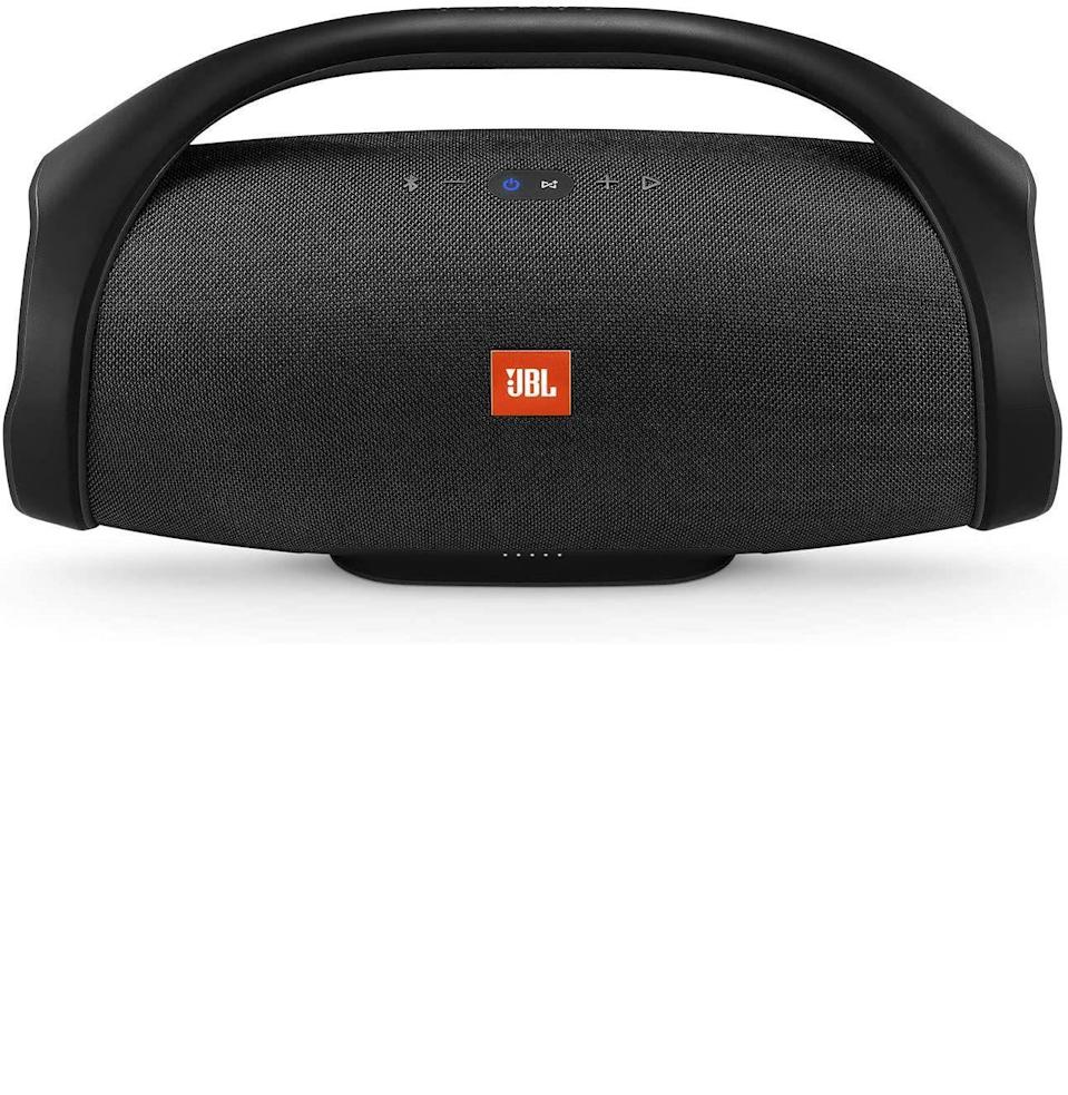 """<p><strong>JBL</strong></p><p>amazon.com</p><p><strong>$274.95</strong></p><p><a href=""""https://www.amazon.com/dp/B0759GC766?tag=syn-yahoo-20&ascsubtag=%5Bartid%7C10054.g.36716381%5Bsrc%7Cyahoo-us"""" rel=""""nofollow noopener"""" target=""""_blank"""" data-ylk=""""slk:Buy"""" class=""""link rapid-noclick-resp"""">Buy</a></p><p><strong>Save 31% with Prime</strong></p><p>This massively loud <a href=""""https://www.esquire.com/lifestyle/g27555291/best-waterproof-bluetooth-speakers/"""" rel=""""nofollow noopener"""" target=""""_blank"""" data-ylk=""""slk:waterproof speaker"""" class=""""link rapid-noclick-resp"""">waterproof speaker</a> is one of our favorites for summertime outdoor use.</p>"""