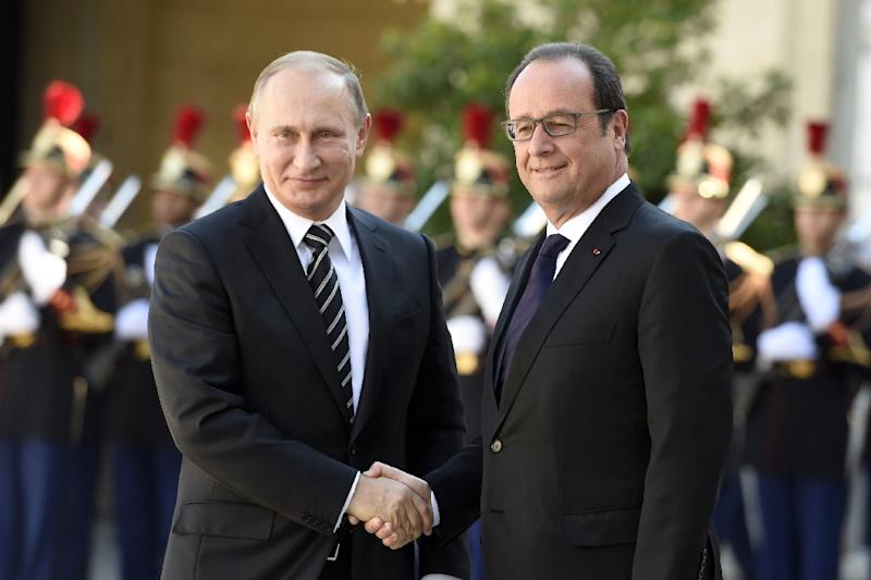 French President Francois Hollande (right) and his Russian counterpart Vladimir Putin last met at the Elysee Palace in October 2015, for talks to consolidate a fragile peace in eastern Ukraine