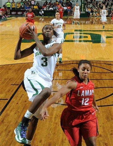 Baylor Jordan Madden (3) drives past Lamar's Asia Booker, right, during the second half of an NCAA college basketball game, Friday, Nov. 9, 2012, in Waco, Texas. Baylor won 80-34. (AP Photo/Waco Tribune Herald, Rod Aydelotte)