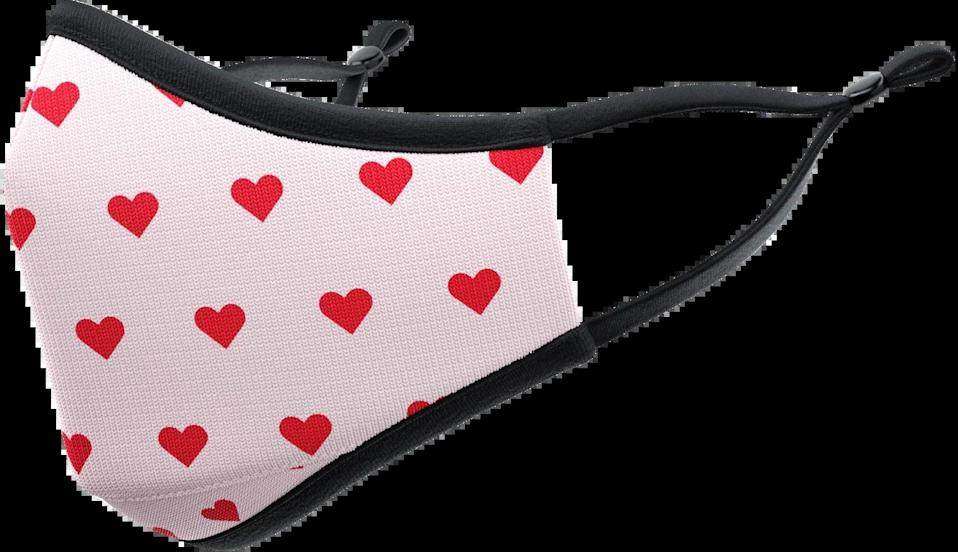 <p>This <span>VistaPrint Red Hearts Face Mask</span> ($18) comes in adults and kids sizes.</p>