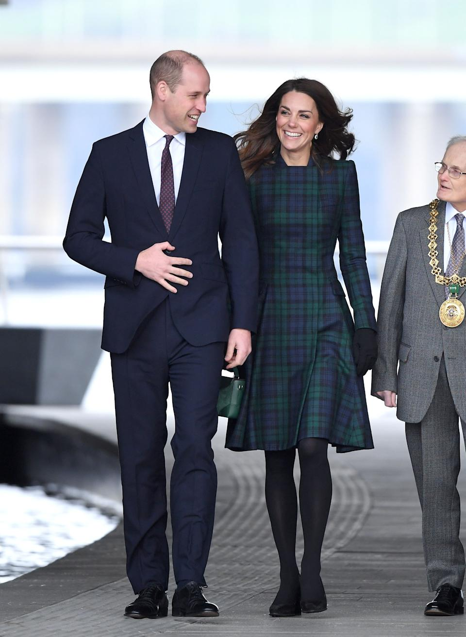 Prince William, the Duke of Cambridge, and Kate officially open the V&A Dundee design museum in Dundee, Scotland, on Jan. 29.
