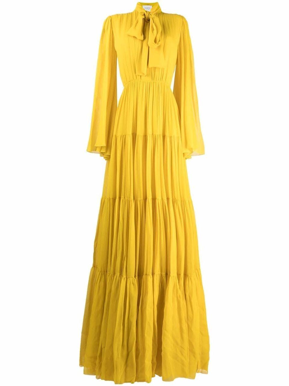 """<p><strong>Giambattista Valli</strong></p><p>farfetch.com</p><p><strong>$4808.00</strong></p><p><a href=""""https://go.redirectingat.com?id=74968X1596630&url=https%3A%2F%2Fwww.farfetch.com%2Fshopping%2Fwomen%2Fgiambattista-valli-pussy-bow-silk-gown-item-16807258.aspx&sref=https%3A%2F%2Fwww.harpersbazaar.com%2Fwedding%2Fbridal-fashion%2Fg36750122%2Fbest-mother-of-the-groom-dresses%2F"""" rel=""""nofollow noopener"""" target=""""_blank"""" data-ylk=""""slk:SHOP NOW"""" class=""""link rapid-noclick-resp"""">SHOP NOW</a></p><p>Mothers of the groom often limit themselves to neutrals like navy, black and metallics. If your mom is one to sport a bold hue, lean into her penchant for pops of color with a tone that best suits her complexion, your bridal party, and the setting. </p>"""