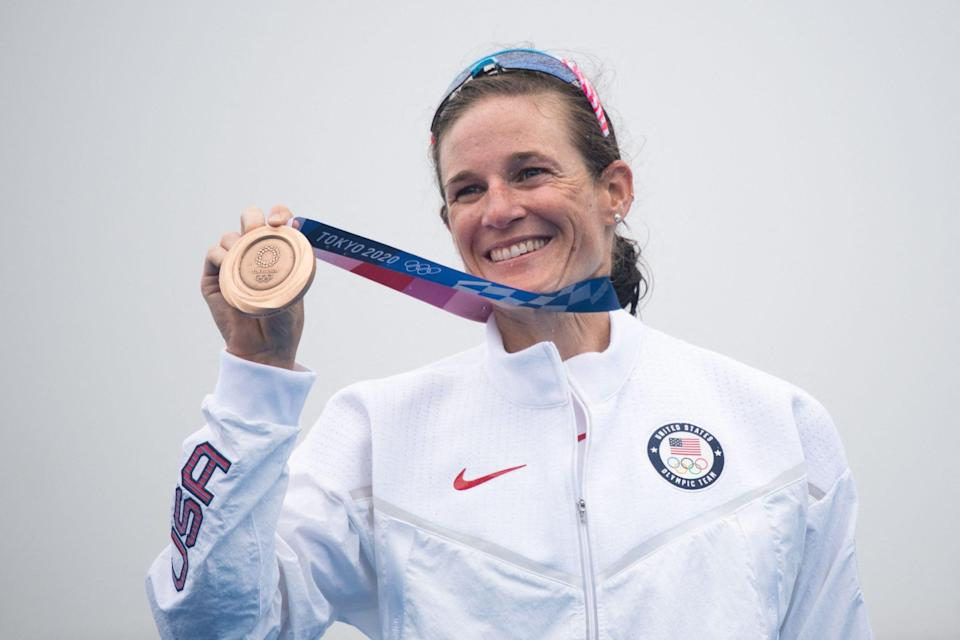 """<p>Biography: 32 years old</p> <p>Event: Women's triathlon</p> <p>Quote: """"I just gave a little, 'Hi, Dad.' I just felt like that was him. I felt him,"""" <a href=""""https://people.com/sports/tokyo-olympics-katie-zaferes-wins-bronze-after-dads-death/"""" rel=""""nofollow noopener"""" target=""""_blank"""" data-ylk=""""slk:she told NBC"""" class=""""link rapid-noclick-resp"""">she told NBC</a> of a rainbow in the sky during competition that she took as a sign from her late father. """"I feel like he'd be so happy.""""</p>"""