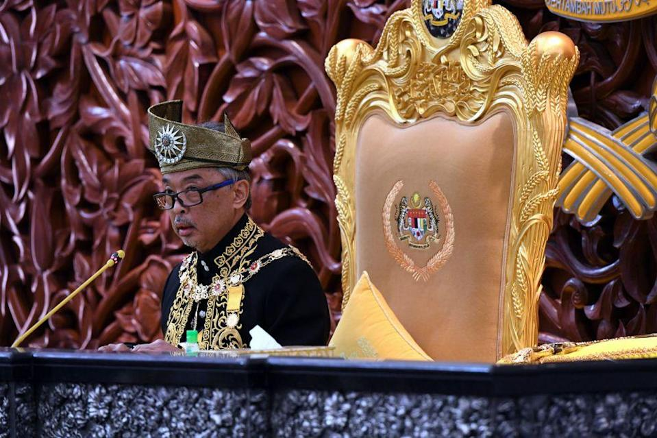 The Yang di-Pertuan Agong Al-Sultan Abdullah Ri'ayatuddin Al-Mustafa Billah Shah delivers the royal address during the opening of the first meeting of the third session of the 14th Parliament in Kuala Lumpur May 18, 2020. — Bernama pic