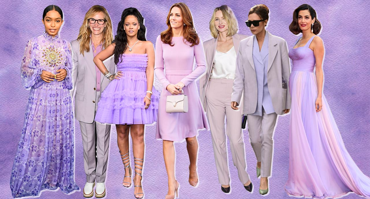 <p>From left, Yara Shahidi, Julia Roberts, Rihanna, Kate Middleton, Naomi Watts, Victoria Beckham, and Amal Clooney all wearing lilac from 2017 to 2018. (Photo: Getty Images; Yahoo Lifestyle) </p>