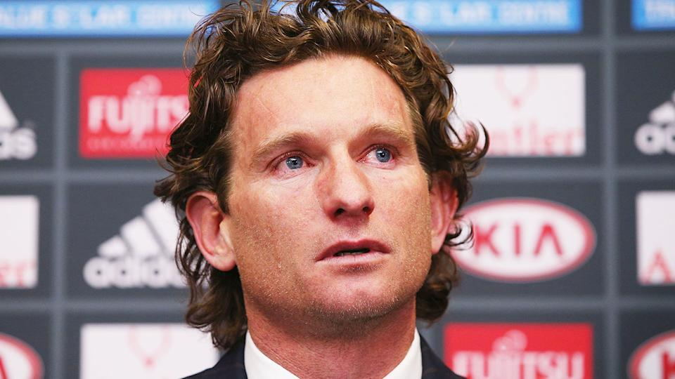 James Hird is seen here choking back tears while talking to media about the Essendon saga.