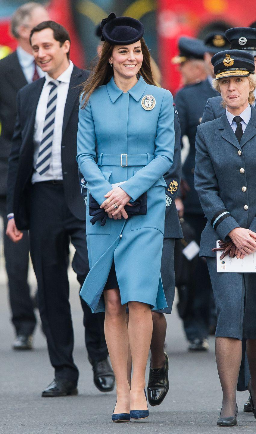 <p>Wearing a powder blue Alexander McQueen coat for the 75th anniversary of the Royal Air Force Cadets in London. </p>