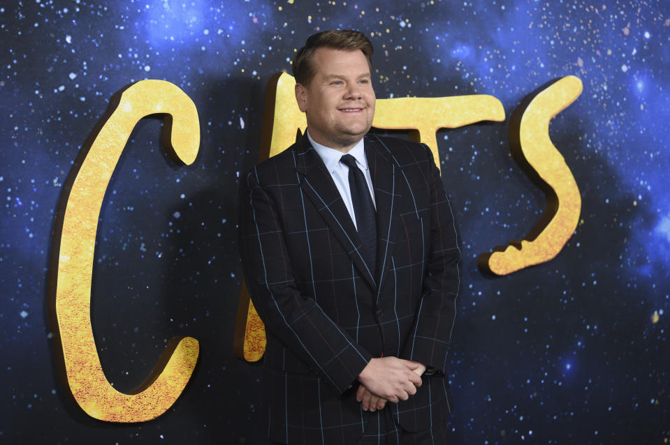 "James Corden attends the world premiere of ""Cats"" at Alice Tully Hall on Monday, Dec. 16, 2019, in New York. (Photo by Evan Agostini/Invision/AP)"