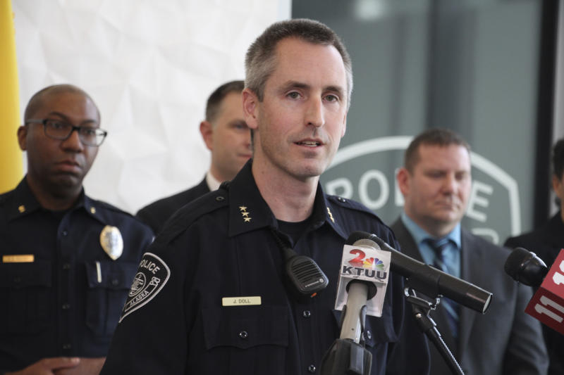Anchorage Police Chief Justin Doll addresses reporters Thursday, Oct. 17, 2019, in Anchorage, Alaska, after a man accused of documenting the assault and death of Kathleen Henry in a hotel room on a memory card was indicted in a second death. A grand jury on Oct. 17 also indicted Brian Steven Smith in the death of Veronica Abouchuk. (AP Photo/Mark Thiessen)