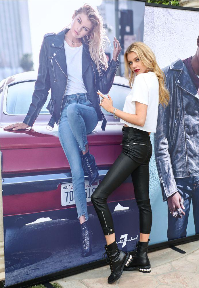 bddeadae66ff4 Stella Maxwell poses alongside her 7 For All Mankind campaign during the  brand's Fall/Winter