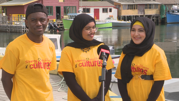 Volonte Kabasele, Tajriyan Rahman and Yasmin Alsherif (left to right) say Impactful Gifts has helped them integrate and form social ties. (Emma Grunwald/CBC - image credit)