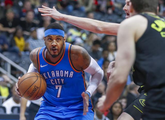 "It hasn't been a banner year for <a class=""link rapid-noclick-resp"" href=""/nba/players/3706/"" data-ylk=""slk:Carmelo Anthony"">Carmelo Anthony</a>. (AP)"