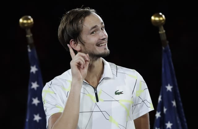 Medvedev addressed his new admirers after being beaten by Nadal (AP Photo/Adam Hunger)
