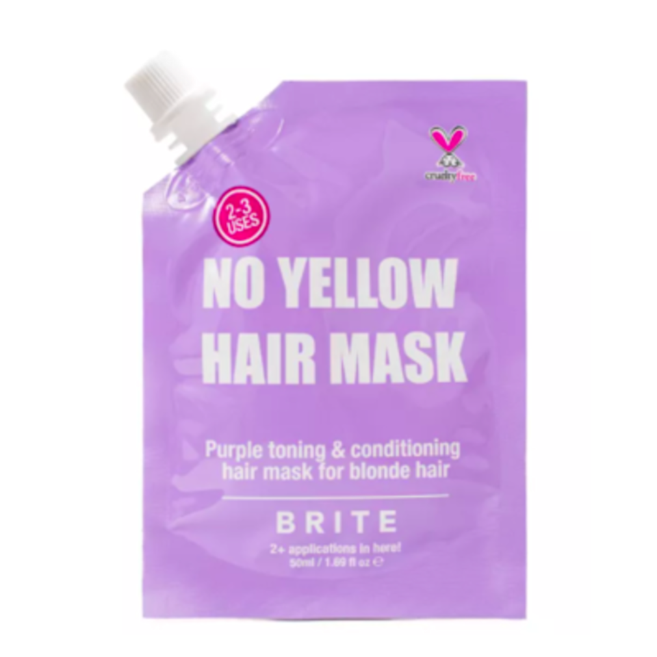"""Blonde and bleached hair will benefit from Brite's No Yellow Hair Mask, which deposits a purple tint onto strands to erase any yellowness. There's also moisturizing <a href=""""https://www.allure.com/story/what-is-glycerin-skin-care-ingredient?mbid=synd_yahoo_rss"""" rel=""""nofollow noopener"""" target=""""_blank"""" data-ylk=""""slk:glycerin"""" class=""""link rapid-noclick-resp"""">glycerin</a> and strengthening wheat protein to treat as it tones."""