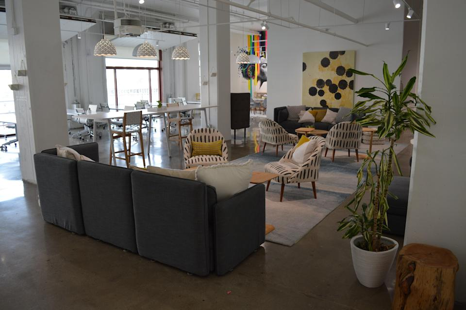The empty offices of The Hivery, a San Francisco coworking space that reopens next month. (Josh Marcus / The Independent)