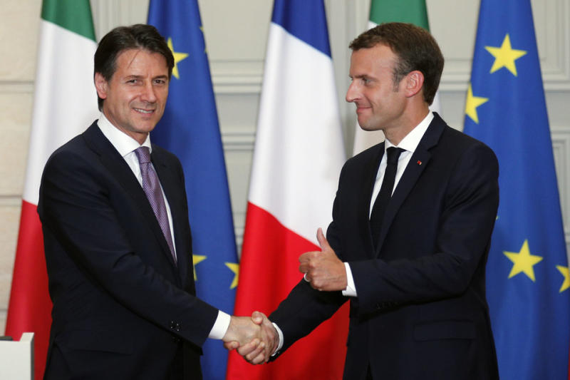 French President Emmanuel Macron and Italian Prime Minister Giuseppe Conte shake handsaftera meeting in Parislast week which followinga bitter diplomatic spat overthe Italian government's refusal to give the Aquarius permission to dock.