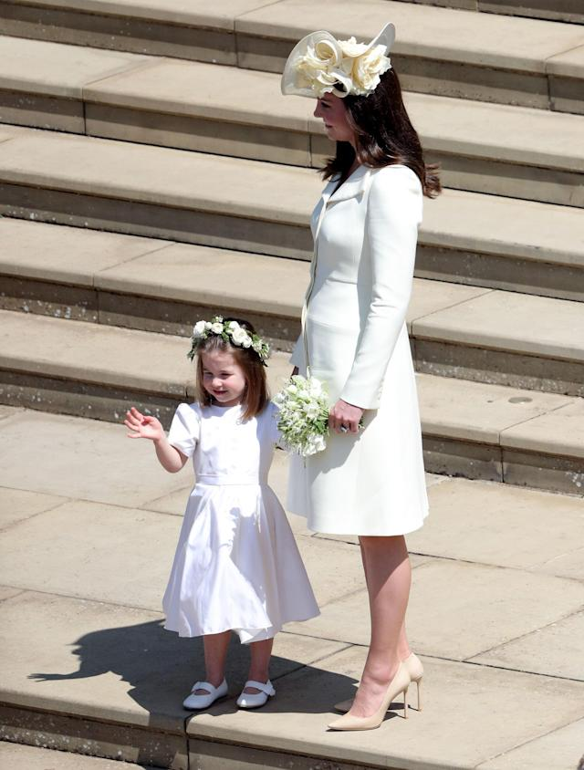 Kate Middleton and Princess Charlotte after the wedding of Prince Harry and Meghan Markle at Windsor Castle. (Photo: Andrew Matthews/PA Wire)