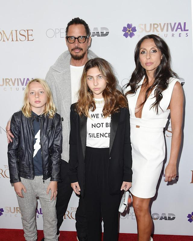 "<p>Chris Cornell and family attend the New York Screening of ""The Promise"" at The Paris Theatre on April 18, 2017 in New York City.<br>(Photo by Nicholas Hunt/Getty Images) </p>"