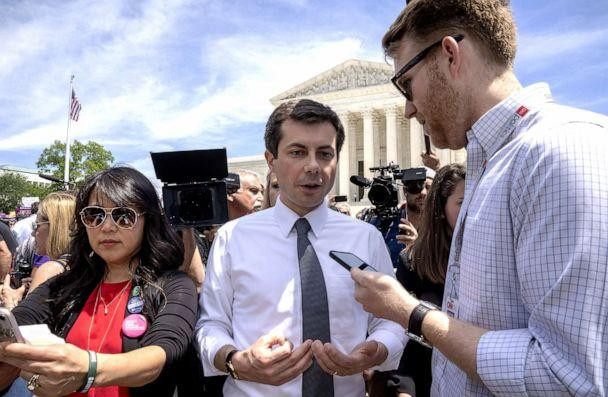 PHOTO: Democratic presidential candidate and mayor of South Bend, Indiana Pete Buttigieg speaks to a reporter at a pro-choice rally at the Supreme Court on May 21, 2019, in Washington, D.C. (Tasos Katopodis/Getty Images)