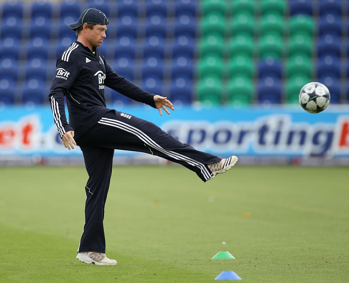 CARDIFF, WALES - SEPTEMBER 06:  Ian Bell of England kicks a football during a nets session at the Swalec Stadium on September 6, 2010 in Cardiff, Wales.  (Photo by Hamish Blair/Getty Images) *** Local Caption *** Ian Bell