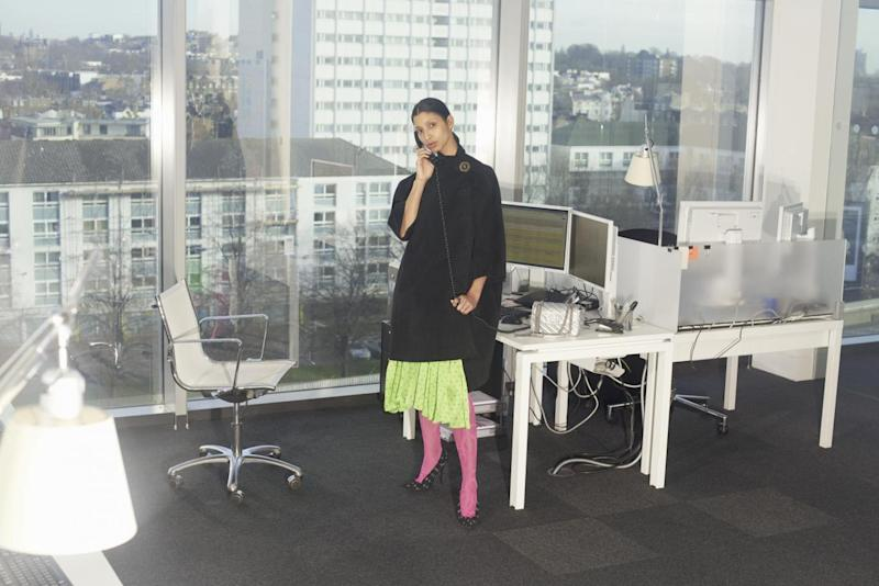 Campaign image for the capsule collection, shot in the Net-a-Porter offices and modelled by company staff