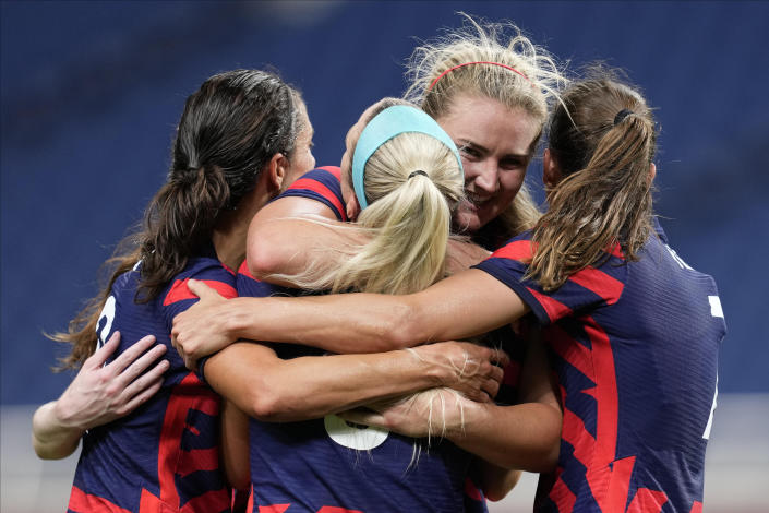 United States' Lindsey Horan, second from right, celebrates after scoring a goal during a women's soccer match against New Zealand at the 2020 Summer Olympics, Saturday, July 24, 2021, in Saitama, Japan. (AP Photo/Martin Mejia)
