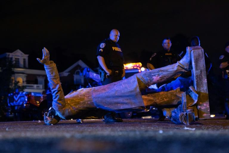 Several Confederate statues have been toppled or ordered removed across the United States, including one of president of the Confederacy Jefferson Davis, whose statue was pulled down by protesters in Richmond, Virginia (AFP Photo/Parker Michels-Boyce)