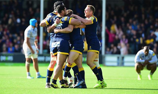 """<span class=""""element-image__caption"""">Worcester Warriors players celebrate at the final whistle.</span> <span class=""""element-image__credit"""">Photograph: Tony Marshall/Getty Images</span>"""