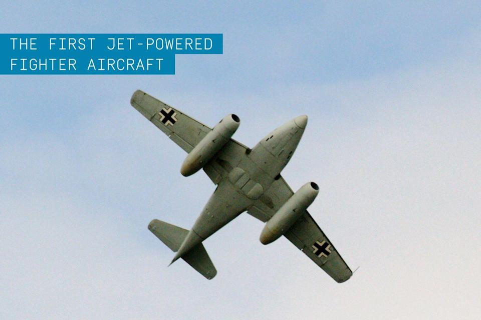 """<p>Although engine problems delayed its operational status with the German Luftwaffe, in 1942 <a href=""""https://www.popularmechanics.com/military/aviation/g34910744/chuck-yeager-famous-planes/"""" rel=""""nofollow noopener"""" target=""""_blank"""" data-ylk=""""slk:the Schwalbe (Swallow)"""" class=""""link rapid-noclick-resp"""">the Schwalbe (Swallow)</a> became the <a href=""""https://www.popularmechanics.com/flight/a35492296/history-of-flight-aviation/"""" rel=""""nofollow noopener"""" target=""""_blank"""" data-ylk=""""slk:world's first jet-powered fighter aircraft"""" class=""""link rapid-noclick-resp"""">world's first jet-powered fighter aircraft</a>. </p><p>It was late to the fight in WWII, and its effectiveness was hampered by engine reliability issues and Allied attacks on German fuel supplies. The plane had <a href=""""https://www.popularmechanics.com/flight/g2551/6-planes-that-never-flew/"""" rel=""""nofollow noopener"""" target=""""_blank"""" data-ylk=""""slk:a limited production lifespan"""" class=""""link rapid-noclick-resp"""">a limited production lifespan</a>, too. Yet its speed and maneuverability were unmatched at the time and its design would still be studied and applied to future fighter jet aircraft like the <a href=""""https://www.popularmechanics.com/military/aviation/a28750929/buy-a-fighter-jet/"""" rel=""""nofollow noopener"""" target=""""_blank"""" data-ylk=""""slk:F-86 Sabre"""" class=""""link rapid-noclick-resp"""">F-86 Sabre</a>.</p>"""